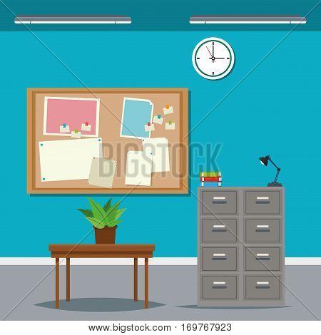work time desk table cabinet file clock plant vector illustration