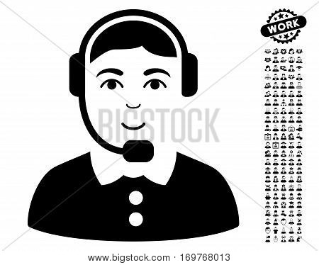 Call Center Operator icon with bonus people pictograms. Vector illustration style is flat iconic black symbols on white background.