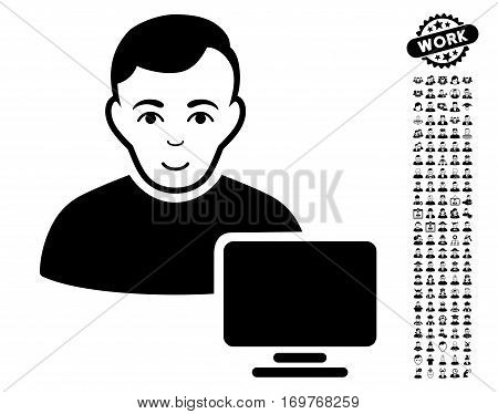 Computer Administrator pictograph with bonus men graphic icons. Vector illustration style is flat iconic black symbols on white background.