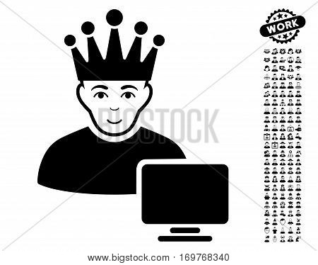 Computer Moderator icon with bonus avatar pictures. Vector illustration style is flat iconic black symbols on white background.