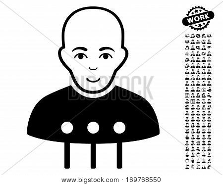 Cyborg Interface icon with bonus human pictograph collection. Vector illustration style is flat iconic black symbols on white background.