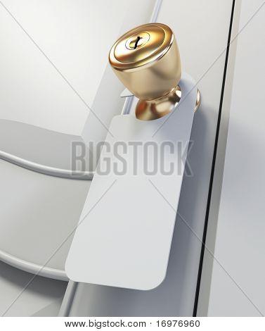 Blank sign on the door handle