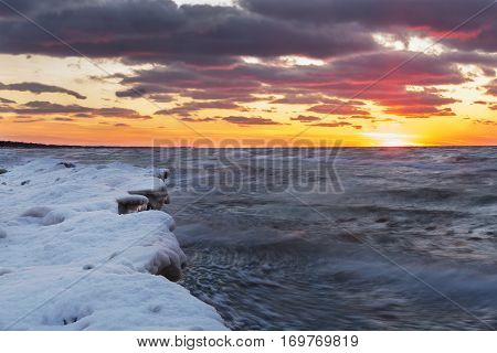 Lake Huron Shoreline In Winter At Sunset