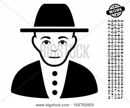Jew pictograph with bonus men clip art. Vector illustration style is flat iconic black symbols on white background.