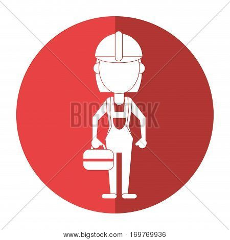 woman worker construction toolbox shadow vector illustration eps 10