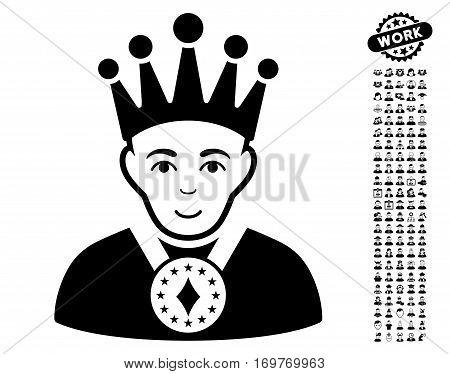 King icon with bonus men icon set. Vector illustration style is flat iconic black symbols on white background.
