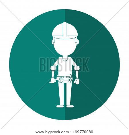 construction man helmet tool belt shadow vector illustration eps 10