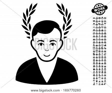 Man Glory pictograph with bonus men clip art. Vector illustration style is flat iconic black symbols on white background.