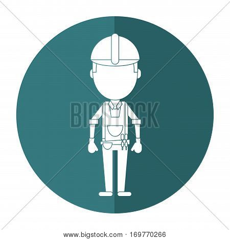 construction man with tool belt gloves shadow vector illustration eps 10