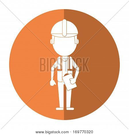 foreman construction helmet vest and clipboard shadow vector illustration