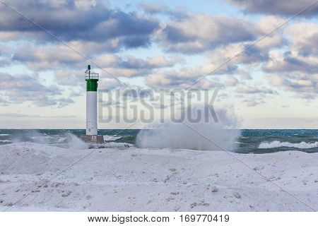 Lake Huron Lighthouse In Winter - Grand Bend, Ontario