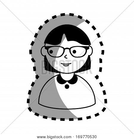sticker with half body woman monochrome with short hair and glasses vector illustration