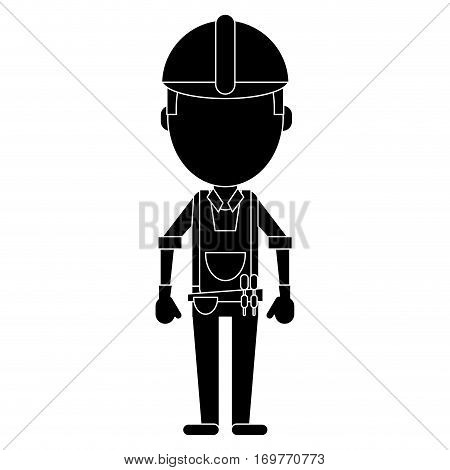 construction man with tool belt pictogram vector illustration eps 10