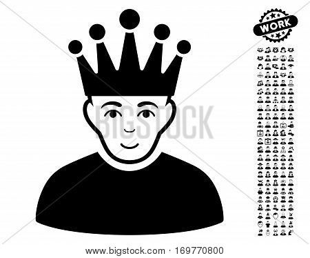 Moderator pictograph with bonus human images. Vector illustration style is flat iconic black symbols on white background.