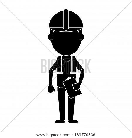 foreman construction helmet vest and clipboard pictogram vector illustration