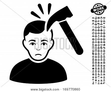 Murder With Hammer icon with bonus people design elements. Vector illustration style is flat iconic black symbols on white background.