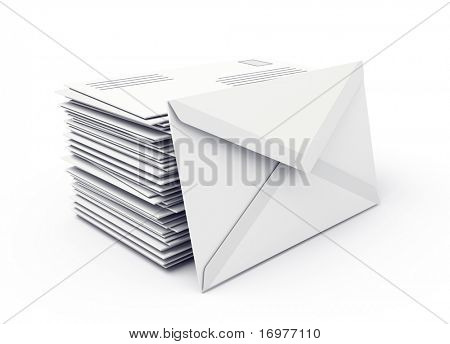 Envelopes isolated over white background