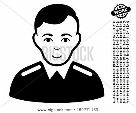 Officer icon with bonus human pictograph collection. Vector illustration style is flat iconic black symbols on white background.