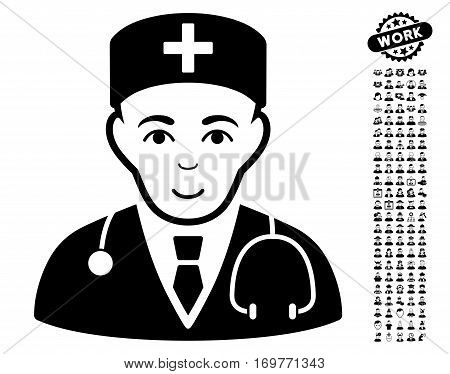 Physician pictograph with bonus men images. Vector illustration style is flat iconic black symbols on white background.