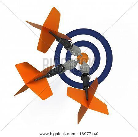 Darts with target - success concept