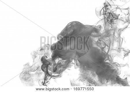 Abstract smoke Weipa. Personal vaporizers fragrant steam. The concept of alternative non-nicotine smoking. Gray smoke vape on a white background. E-cigarette. Evaporator. Taking Close-up. Vaping.
