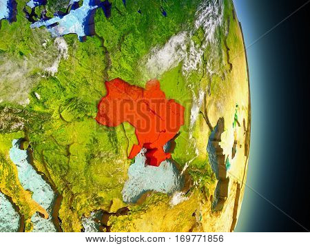Ukraine In Red From Space