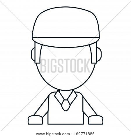 man worker clipboard and cap thin line vector illustration eps 10