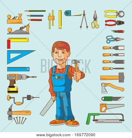 Handyman and set of hand tools for productive work. Vector illustration.