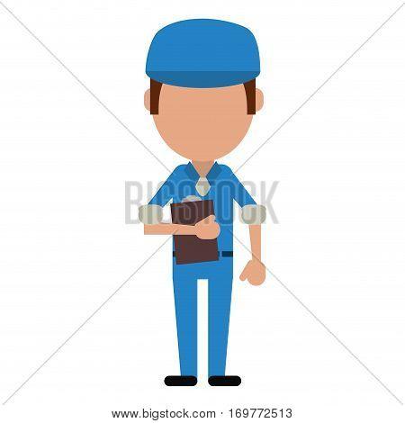 man worker blue uniform clipboard and cap vector illustration eps 10