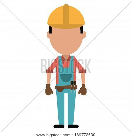 construction man with tool belt gloves vector illustration eps 10