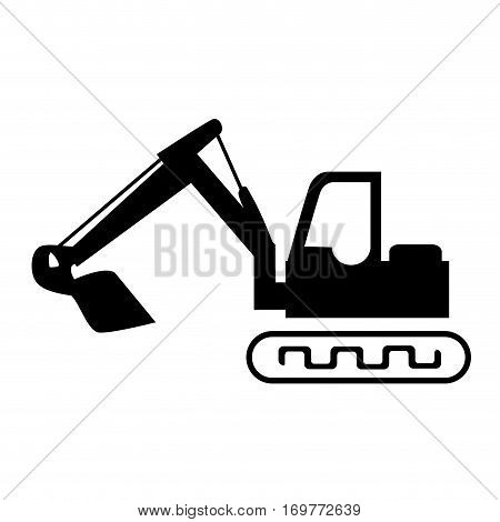 silhouette backhoe with crane for construction vector illustration