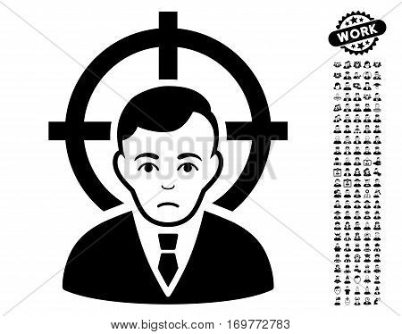 Victim Businessman pictograph with bonus human design elements. Vector illustration style is flat iconic black symbols on white background.