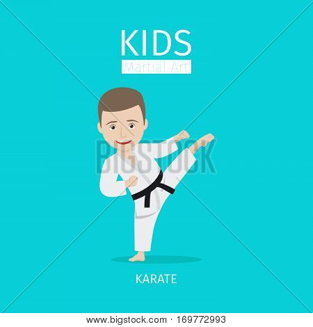 Kids martial art vector illustration. Karate boy on blue background