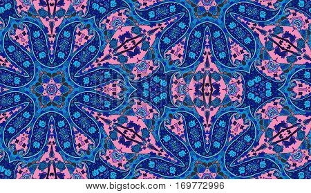 Bright detailed floral and paisley seamless pattern. Vector illustration.