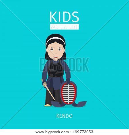Kids martial art vector illustration. Kendo girl on blue background