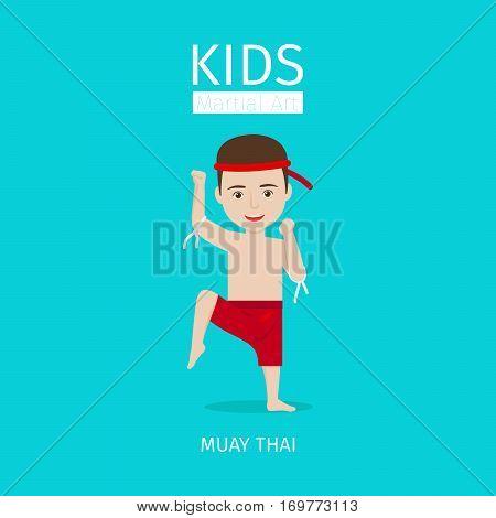 Kids martial art vector illustration. Muay Thai boy on blue background
