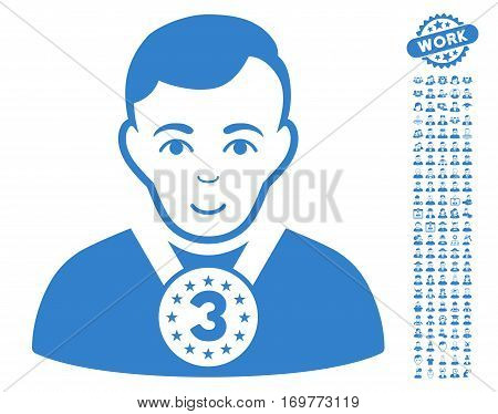 3rd Prizer Sportsman icon with bonus human images. Vector illustration style is flat iconic cobalt symbols on white background.