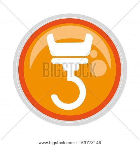 circular button with silhouette crane mechanics vector illustration