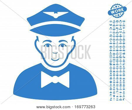 Airline Steward pictograph with bonus people clip art. Vector illustration style is flat iconic cobalt symbols on white background.