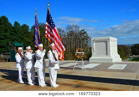 ARLINGTON, USA - NOVEMBER 10, 2015 : Ceremonial veteran guards at the Tomb of the Unknown Soldier at Arlington National Cemetery near to Washington DC United States.