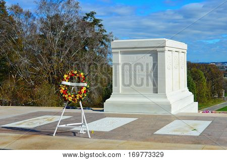 ARLINGTON, USA - NOVEMBER 10, 2015 :  Tomb of the Unknown Soldier at Arlington National Cemetery near to Washington DC United States.