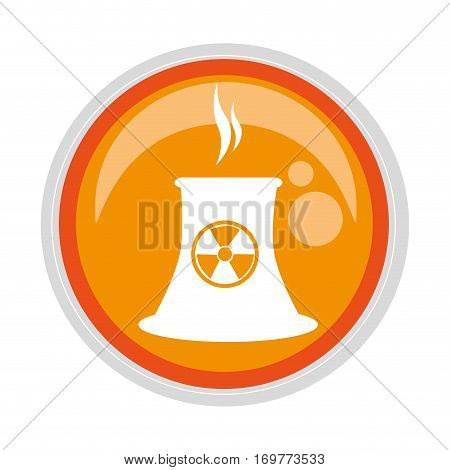 circular button with factory radioactive materials vector illustration