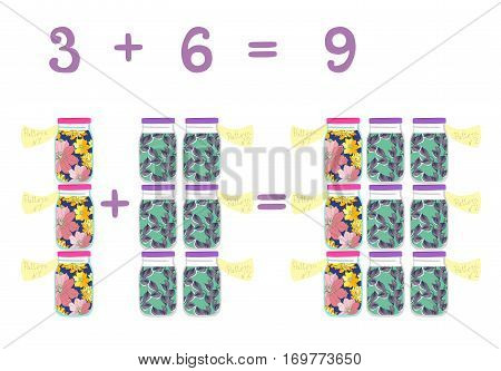 Mathematical examples in addition to fun glass jars. Vector illustration. Educational game for children. Cans with floral patterns. The numbers three, six, nine.