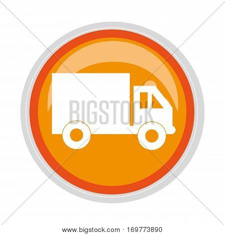 circular button transport truck with vagon and wheels vector illustration