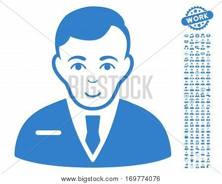 Businessman pictograph with bonus men graphic icons. Vector illustration style is flat iconic cobalt symbols on white background.