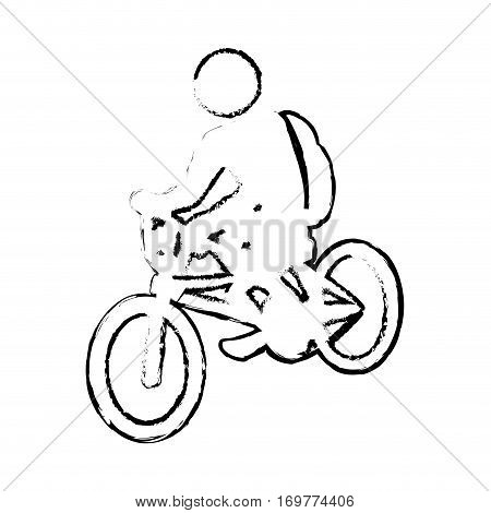 silhouette sketch blurred with pictogram man ride bicycle vector illustration