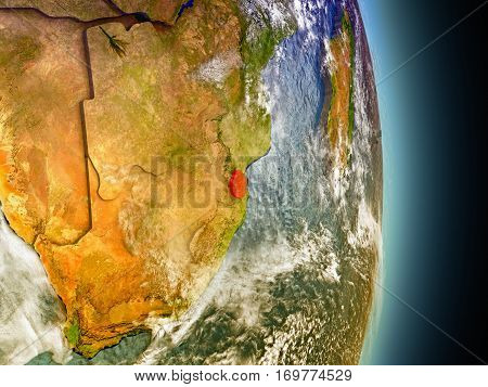 Swaziland In Red From Space