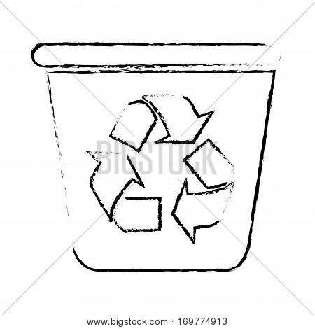 silhouette sketch blurred with recycling container vector illustration