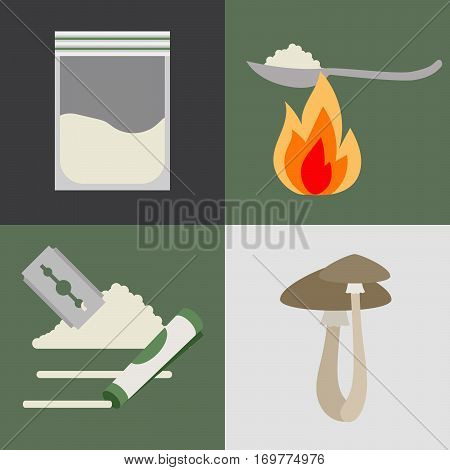 Drugs and mushrooms colored addiction vector icons set