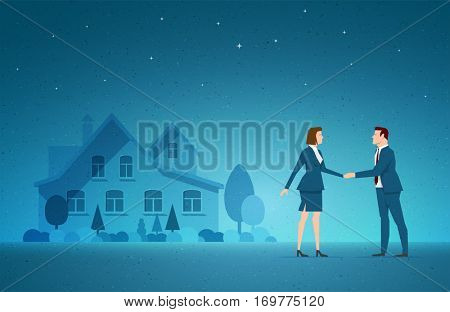 Business concept vector illustration. Investing, real estate, investment opportunity, choice concept. Elements are layered separately in vector file.